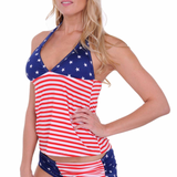 Women's USA Flag Tankini & String Shorts 2-Piece Swimwear Sizes S to DD