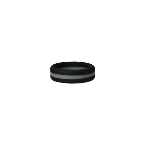 Black/Grey Stripe Silicone Ring