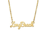 Cal State Long Beach Gold Script Necklace