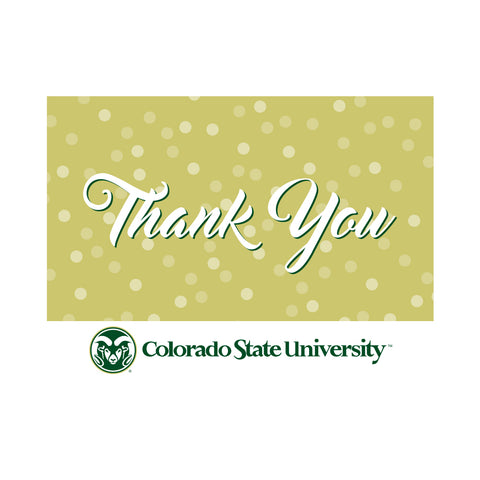 Colorado State Rams Thank You Card 10 Pack Horizontal Gold