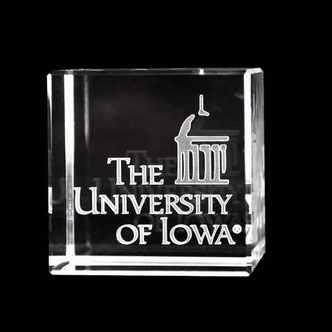 Iowa Hawkeyes Academic Logo Crystal Cube