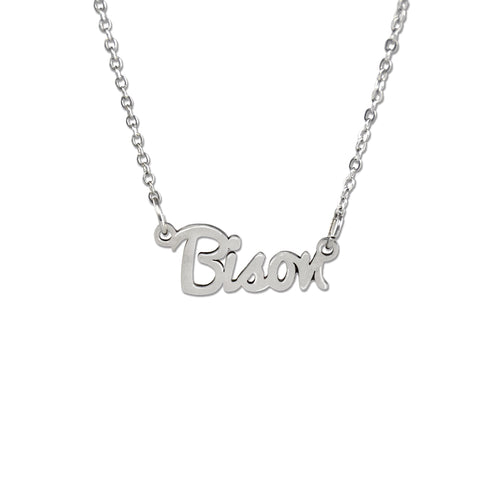North Dakota State Bison Script Necklace