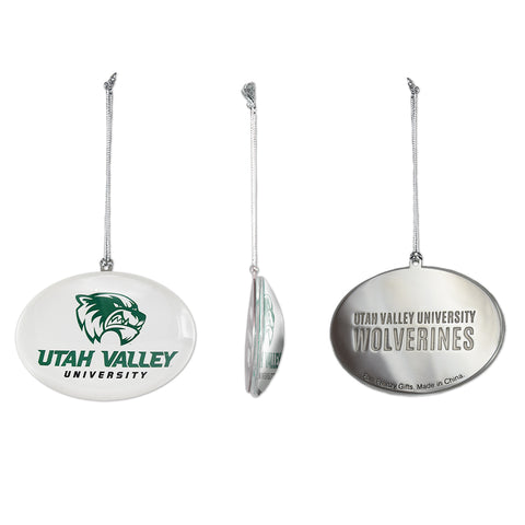 UVU Wolverine Glass Ornament