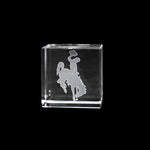 Wyoming Bucking Horse Crystal Cube