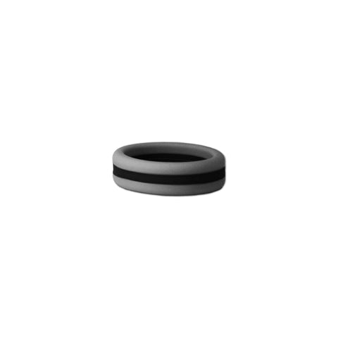 Grey/Black Stripe Silicone Ring
