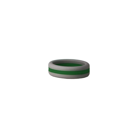Grey/Green Stripe Silicone Ring
