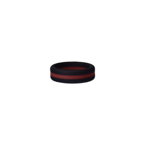 Black/Maroon Stripe Silicone Ring