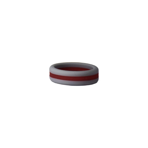 Grey/Maroon Stripe Silicone Ring