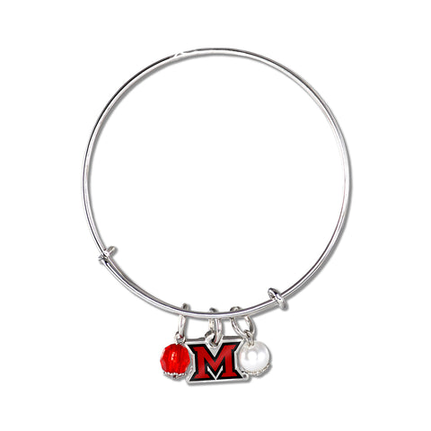 Miami University Ohio RedHawks Logo Charm Bangle Bracelet