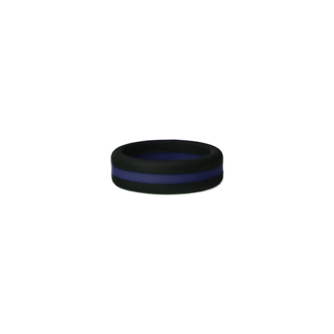 Black/Navy Stripe Silicone Ring