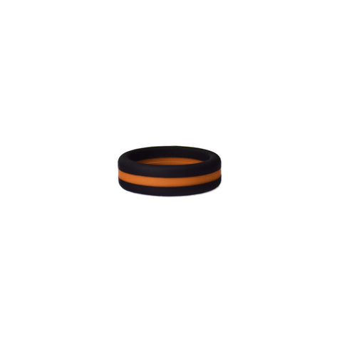Black/Orange Stripe Silicone Ring