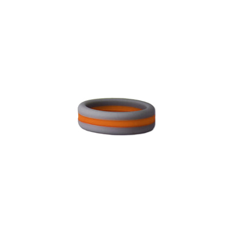 Grey/Orange Stripe Silicone Ring