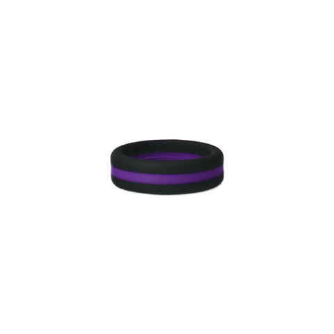 Black/Purple Stripe Silicone Ring