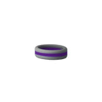 Grey/Purple Stripe Silicone Ring