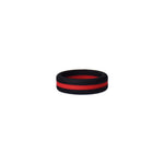 Black/Red Stripe Silicone Ring