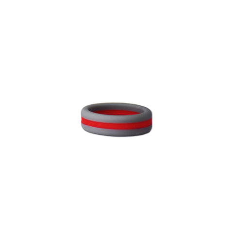 Grey/Red Stripe Silicone Ring