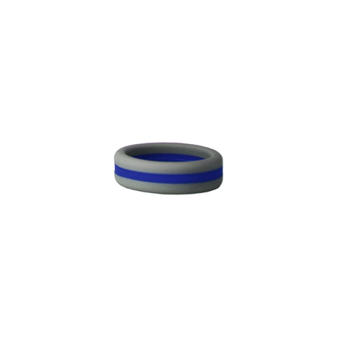 Grey/Blue Stripe Silicone Ring