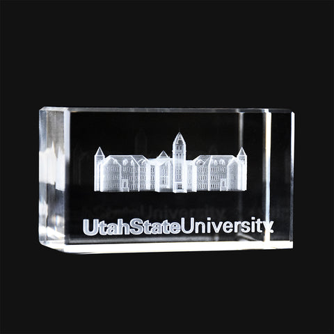 Utah State Old Main Crystal Cube
