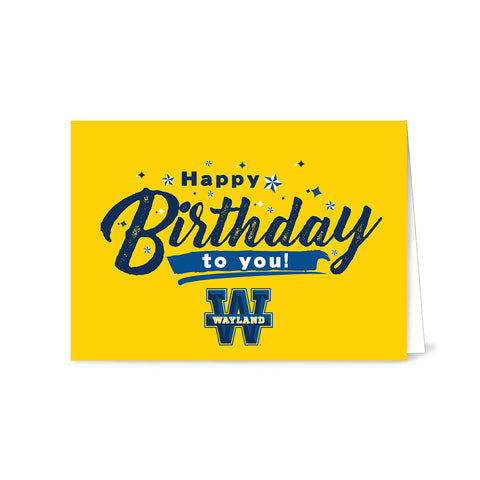 Wayland Baptist University Yellow Happy Birthday Card