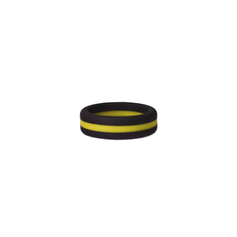 Black/Yelllow Stripe Silicone Ring