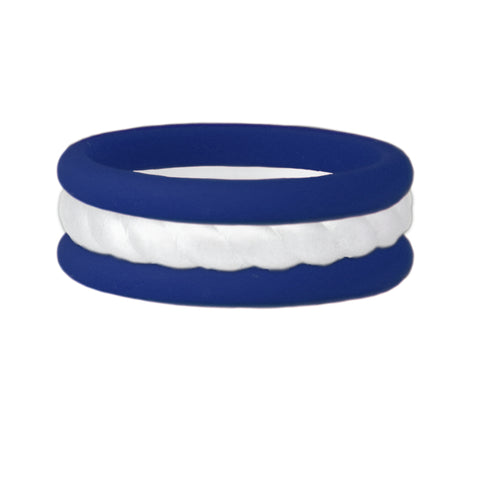 Navy/Rope White Stackable Silicone Ring