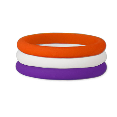 Purple/Orange/White Stackable Silicone Ring
