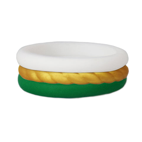 Green/Rope Gold/White Stackable Silicone Ring
