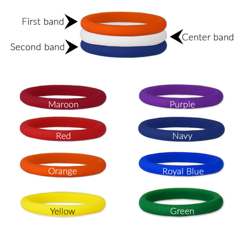 Build Your Own- Size 6 Stackable Silicone Ring Set Plain White Center