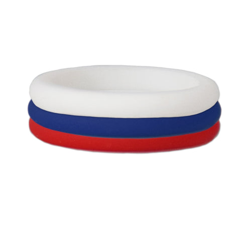 Red/Navy/White Stackable Silicone Ring