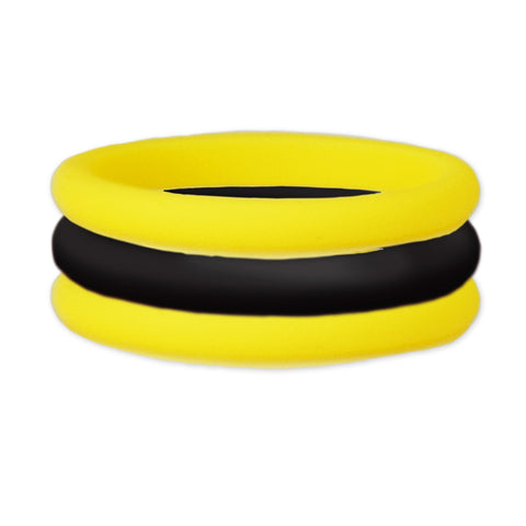 Yellow/Black Stackable Silicone Ring
