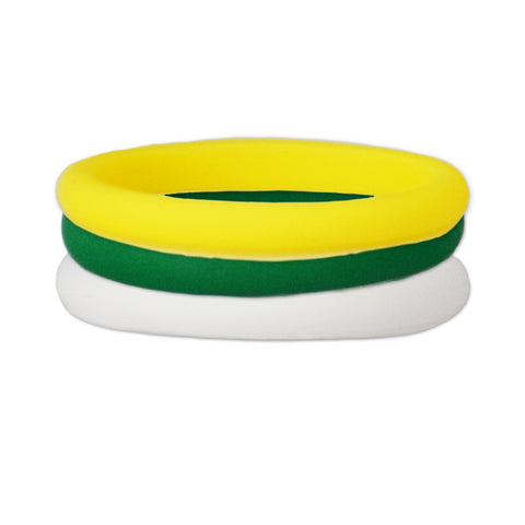 Green/Yellow/White Stackable Silicone Ring