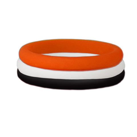 Black/Orange/White Stackable Silicone Ring