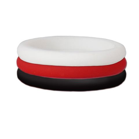 Black/Red/White Stackable Silicone Ring