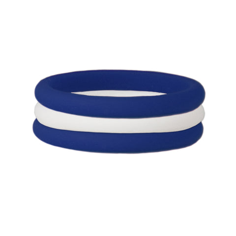 Navy/White Stackable Silicone Ring