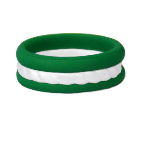 Green/Rope White Stackable Silicone Ring