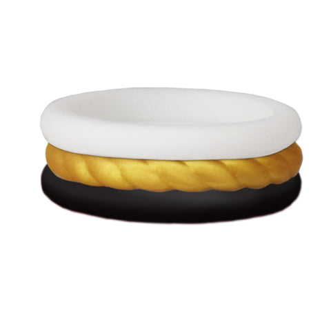 Black/Rope Gold/White Stackable Silicone Ring
