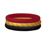 Maroon/Rope Gold/Black Stackable Silicone Ring