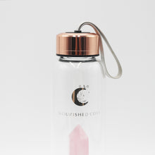 Load image into Gallery viewer, Crystal Infused Water Bottle - Rose Quartz in Rose Gold - Luxury Edition