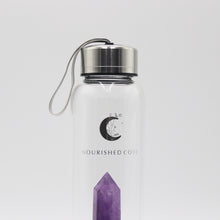 Load image into Gallery viewer, Crystal Infused Water Bottle - Amethyst in Silver