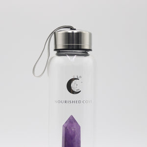Crystal Infused Water Bottle - Amethyst in Silver