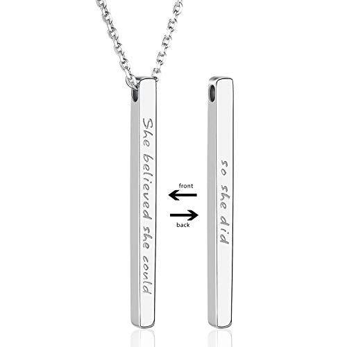 925 Sterling Silver Personalized Inspirational Bar Pendant Necklace Jewelry Engraved