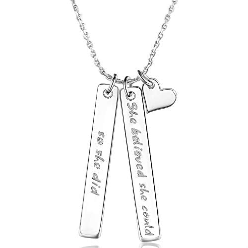 925 Sterling Silver Inspirational Bar Necklace Engraved 'She Believed she Could so she did'