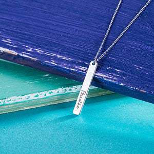 925 Sterling Silver Bar Pendant Necklace Engraved 'Breathe""
