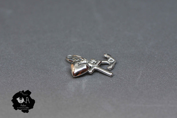 Pure Silver Oxidized Anchor Pendant