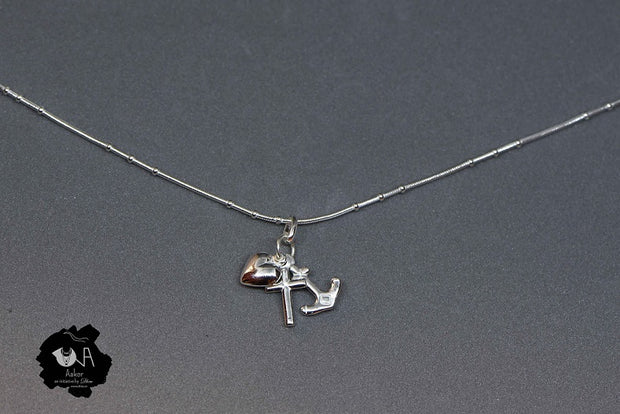Pure Silver Oxidized Anchor Pendant - Boutique Dheu