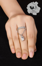 Love-Lock Pure Silver Ring