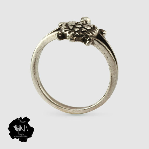 Pure Silver Handcrafted Lucky Tortoise Ring - Boutique Dheu