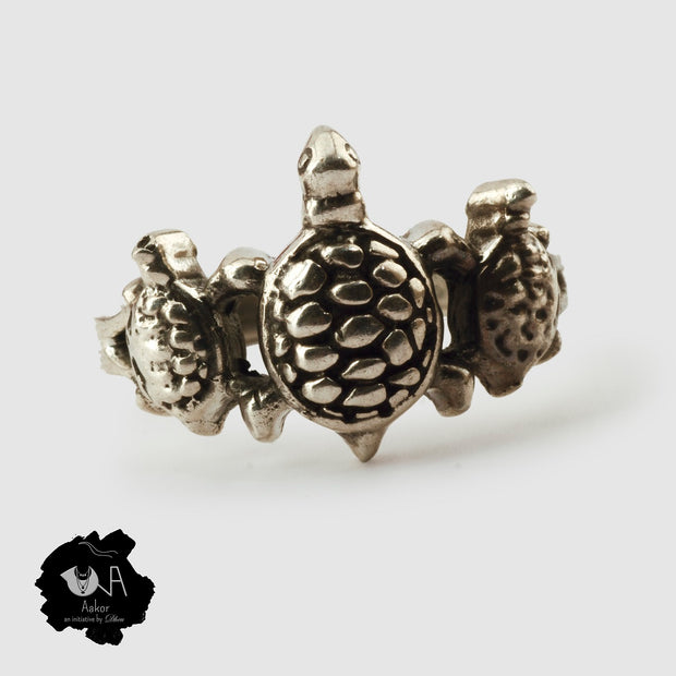 Pure Silver Handcrafted Lucky Tortoise family Ring - Boutique Dheu