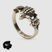 Pure Silver Handcrafted Lucky Tortoise family Ring