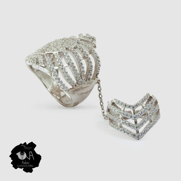 Royal Sterling silver Double Ring - Boutique Dheu